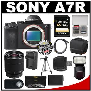 Sony Alpha A7R Digital Camera Body (Black) with 28-70mm Zoom Lens & HVL-F60M Flash + 64GB Card + Case + Battery/Charger + Tripod Kit