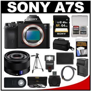 Sony Alpha A7S Digital Camera Body with Sonnar T* FE 35mm f/2.8 ZA Lens + 64GB Card + Case + Flash + Battery + Tripod Kit