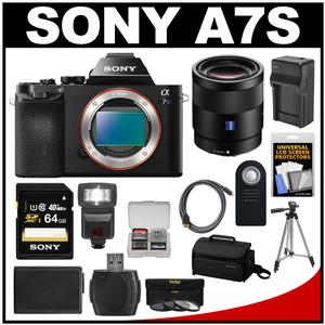 Sony Alpha A7S Digital Camera Body with Sonnar T* FE 55mm f/1.8 ZA Lens + 64GB Card + Case + Flash + Battery + Tripod Kit