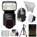 Sony Alpha HVL-F60M Flash with Video Light with Batteries & Charger + Diffuser + Bounce Reflector + Backpack + Tripod + Accessory Kit