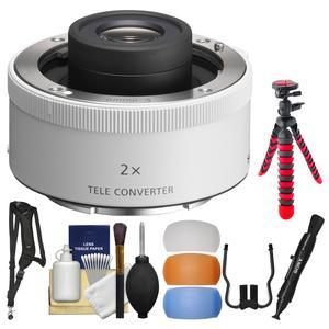 Sony 2.0x E-Mount Teleconverter Lens with Flex Tripod and Sling Strap and Flash Diffuser Set and Kit