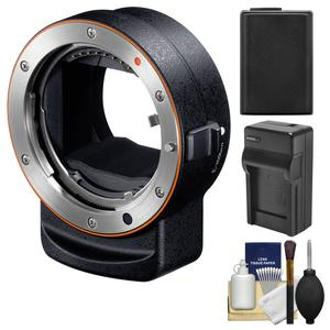 Sony Alpha LA-EA3 Adapter - Attach A-mount Lenses to E-mount Full Frame Camera - with NP-FW50 Battery and Charger + Accessory Kit
