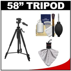 "Precision Design PD-58PVTR 58"" Photo/Video Tripod with Case with Spudz Cleaning Cloth + 6-Piece Cleaning Kit"
