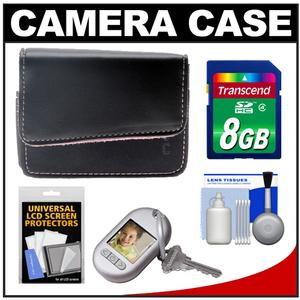 icon FM110-BLK Leather Digital Camera Case (Black with Pink Inside Liner) with 8GB Card + Cleaning Kit