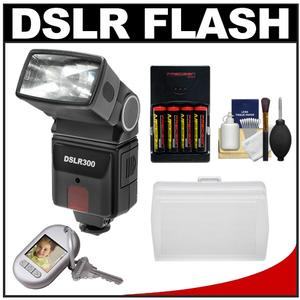 Precision Design DSLR300 High Power Auto Flash with Bounce Flash Diffuser + Batteries & Charger + Accessory Kit