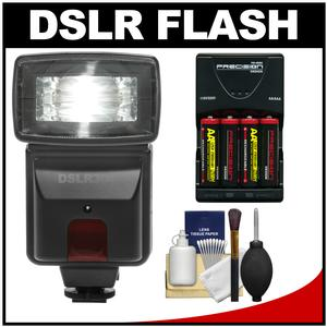 Precision Design DSLR300 High Power Auto Flash with-4-Batteries and Charger and Accessory Kit