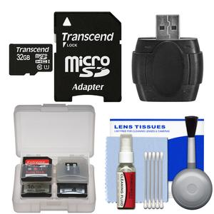 Transcend 32GB microSDHC 300x UHS-1 Class 10 Memory Card with Adapter with Card Reader and Cleaning Kit and Card Case