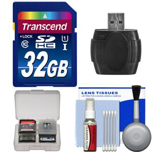 Transcend 32GB SecureDigital-SDHC-300x UHS-1 Class 10 Memory Card with Card Reader and Cleaning Kit and Card Case