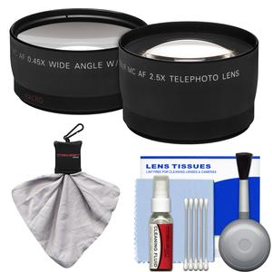 Precision Design 2.5x Telephoto and .45x Wide-Angle Digital Lenses-49mm-52mm-55mm-58mm-with 5-Piece Cleaning Kit and Spudz Cleaning Cloth