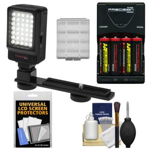 Precision Design Digital Camera-Camcorder LED Video Light with Bracket with Batteries and Charger and Battery Case and LCD Protectors and Cleaning Kit