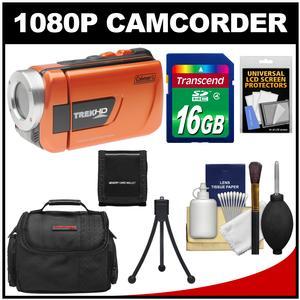 Coleman CVW16HD TrekHD Waterproof HD Digital Video Camera Camcorder (Orange) with 16GB Card + Case + Accessory Kit