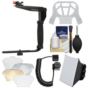 Stroboframe Quick Flip 350 Flash Bracket with E-TTL Off-Camera Cord + Soft Box + Diffuser + Kit for Canon DSLR Cameras