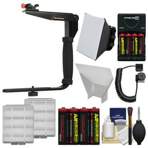 Stroboframe Quick Flip 350 Flash Bracket with E-TTL Off-Camera Cord + Soft Box + Reflector + Batteries + Kit for Canon DSLR Cameras