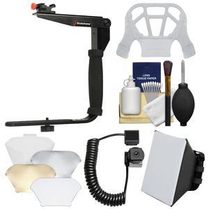 Stroboframe Quick Flip 350 Flash Bracket with i-TTL Off-Camera Cord + Soft Box + Diffuser + Kit for Nikon DSLR Cameras