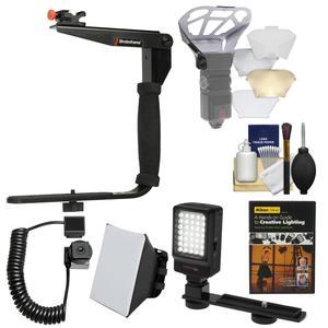 Stroboframe Quick Flip 350 Flash Bracket with i-TTL Off-Camera Cord + Diffusers + LED Light + DVD + Kit for Nikon DSLR Cameras