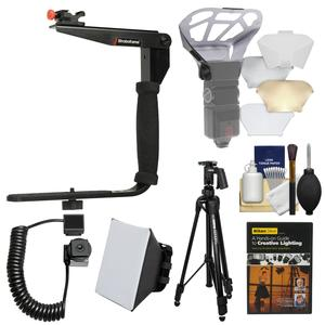 Stroboframe Quick Flip 350 Flash Bracket with i-TTL Off-Camera Cord + Diffusers + Tripod + DVD + Kit for Nikon DSLR Cameras