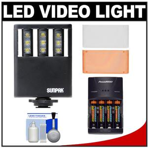 Sunpak Ultra Slim LED 9 Video Light with 2 Diffusers with - 4 - AAA Batteries and Charger + Cleaning Kit