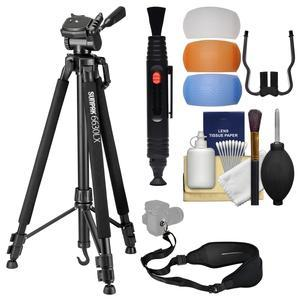 Sunpak 6630LX 66 inch Photo / Video Tripod  with Adapters for Smartphones and GoPro with Sling Strap + Flash Diffusers + Cleaning Kit