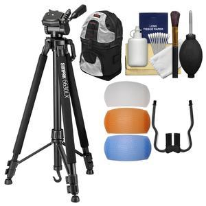 Sunpak 6630LX 66 inch Photo / Video Tripod with Adapters for Smartphones and GoPro with Backpack + Flash Diffusers + Cleaning Kit