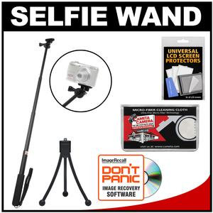 Sunpak 3000AVW 28 inch Extendable Selfie Wand for GoPro Action and PandS Cameras with Mini Tripod and Accessory Kit