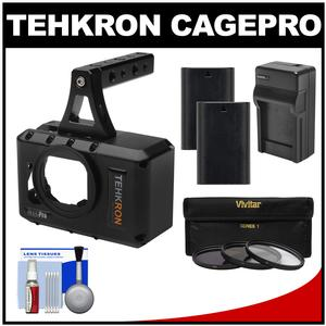Tehkron CagePro Powered Cage for GoPro HERO3-HERO3+-HERO4 Camera with - 2 - Batteries and Charger + 3 UV-CPL-ND8 Filters + Kit