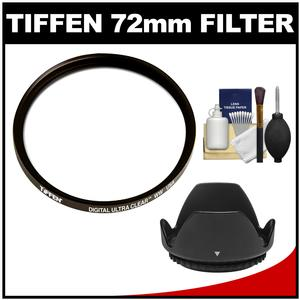 Tiffen 72mm Digital Ultra Clear WW Protective Filter with Lens Hood and Cleaning Kit