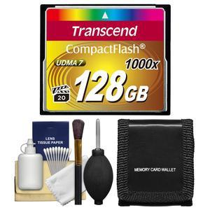 Transcend 128GB CompactFlash-CF-1000x UDMA 7 160R-120W Memory Card with Storage Wallet and Cleaning Kit