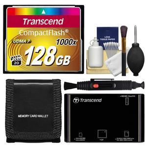 Transcend 128GB CompactFlash-CF-1000x UDMA 7 160R-120W Memory Card with Card Reader and Card Wallet and Cleaning Kit