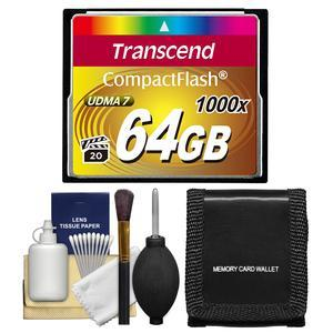 Transcend 64GB CompactFlash-CF-1000x UDMA 7 160R-120W Memory Card with Storage Wallet and Cleaning Kit