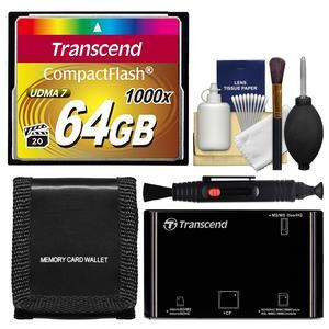 Transcend 64GB CompactFlash-CF-1000x UDMA 7 160R-120W Memory Card with Card Reader and Card Wallet and Cleaning Kit