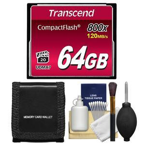 Transcend 64GB 800x UDMA7 CompactFlash - CF - Card with Storage Wallet + Cleaning Kit