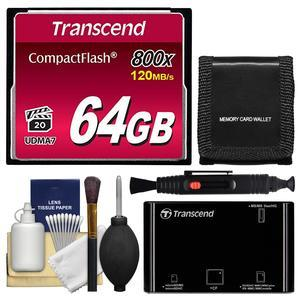 Transcend 64GB 800x UDMA7 CompactFlash-CF-Card with Card Reader and Storage Wallet and Cleaning Kit