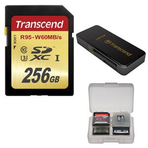 Transcend 256GB SecureDigital SDXC UHS-I U3 Class 10 Memory Card with 3.0 Reader and Card Case