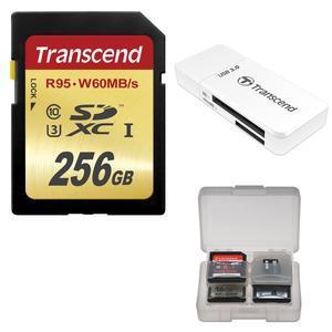 Transcend 256GB SecureDigital SDXC UHS-I U3 Class 10 Memory Card with 3.0 Reader + Card Case
