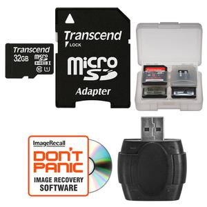 Transcend 32GB microSDHC 300x UHS-I Class 10 Memory Card with Adapter and Reader and Case Kit