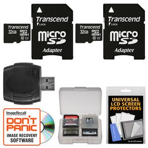 Transcend 32GB microSDHC 300x UHS-I Class 10 Memory Card with Adapter - 2 PACK - + Reader and Case Kit
