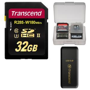 Transcend 32GB SecureDigital-SDHC-UHS-II U3 Class 10 Memory Card with Card Reader and Card Case