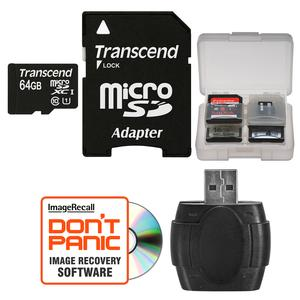 Transcend 64GB microSDXC 300x UHS-I Class 10 Memory Card with Adapter + Reader and Case Kit