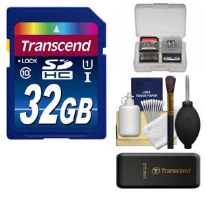 Transcend 32GB SecureDigital-SDHC-300x UHS-I Class 10 Memory Card with 3.0 Card Reader and Card Case and Cleaning Kit