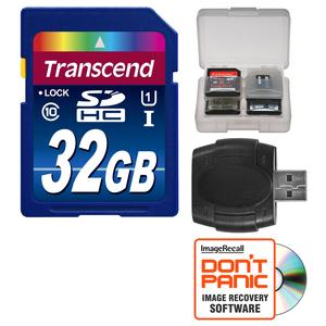 Transcend 32GB SecureDigital-SDHC-300x UHS-I Class 10 Memory Card with Reader and Case Kit