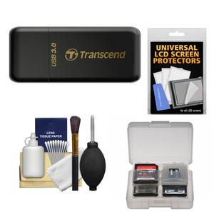 Transcend USB 3.0 SD and microSD Card Reader-SDHC-SDXC-UHS-I-- Black-with Memory Card Case and Cleaning Kit