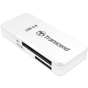 Transcend USB 3.0 SD and MicroSD Card Reader - SDHC-SDXC-UHS-I - - White -