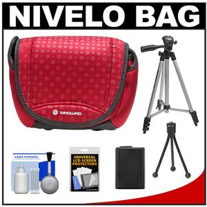 Vanguard Nivelo 18 Mirrorless Interchangeable Lens Digital Camera Case (Red) with NP-FW50 Battery + Tripod + Accessory Kit