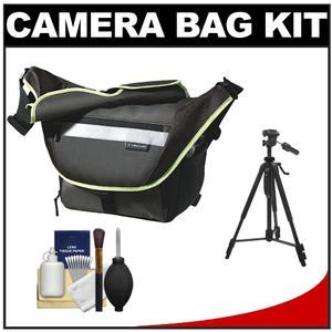 Vanguard Sydney 22 Messenger Digital SLR Camera Bag/Case (Olive) with Deluxe Photo/Video Tripod + Accessory Kit