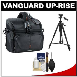 Vanguard Up-Rise 22 Digital SLR Camera Bag/Case (Black) with Deluxe Photo/Video Tripod + Accessory Kit