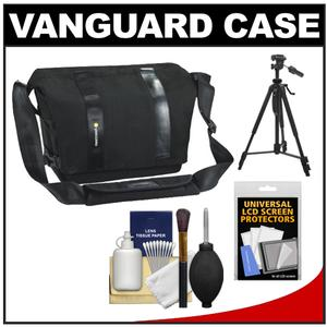 Vanguard Vojo 22 Digital SLR Camera Shoulder Bag (Black) with Tripod + Cleaning Kit