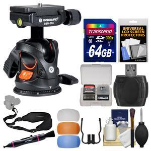 Vanguard BBH-200 Ball Head with Quick Release with 64GB Card + Flash Filters + Sling Strap + Kit