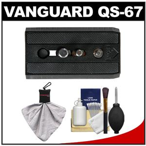 Vanguard Quick Shoe Release Plate QS-67 for PH-123V and PH-124V Window Mount Clamp with Cleaning Kit for PH-123V and PH-124V Window Mount Clamp