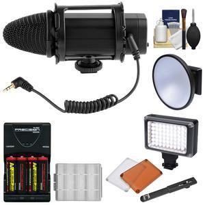 VGear VGMIC Stereo Condenser Video Microphone with LED Video Light + Batteries and Charger + Kit