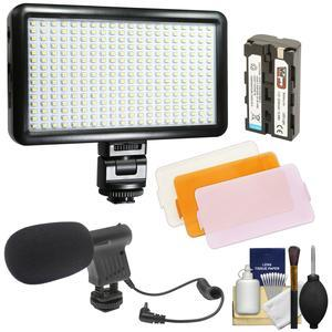 Vidpro LED-300 Ultra-Slim Video Light with 3 Diffusers Battery and Charger with Microphone + Kit